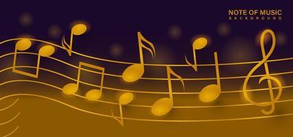 nota de ouro do modelo de fundo de design de música vetor