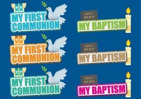 Títulos de comunhão e batismo vetor