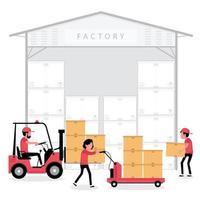 pessoas trabalhando em um depósito de fábrica vetor