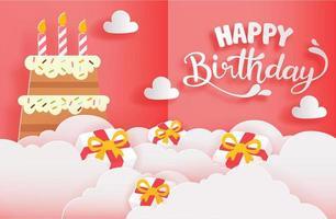 cartão de feliz aniversário com corte de papel estilo com bolo e presentes vetor