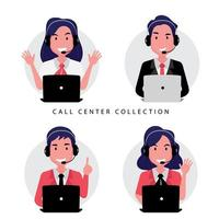 coleção de call center e equipe de atendimento ao cliente vetor
