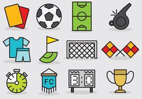 Bonitos ícones de futebol vetor