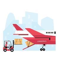 processo logístico de correio aéreo vetor