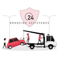 Serviço de assistência rodoviária 24 horas vetor