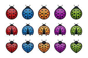 conjunto de ícones coloridos de joaninhas redondas e em forma de coração vetor