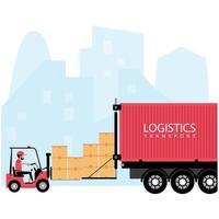 logística e processo de transporte de entrega vetor