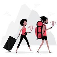 localização GPS online usada por dois viajantes vetor