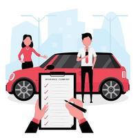 apólice de uma seguradora de automóveis vetor