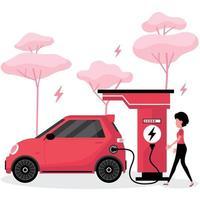 mulher carregando carro elétrico vetor