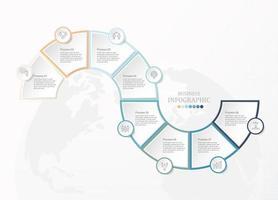 Infográfico de 8 etapas de forma de curva conectada com ícones