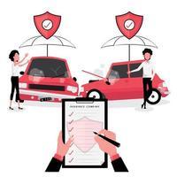seguradora de automóveis intervindo em um acidente de carro vetor