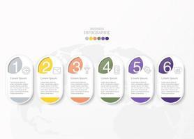 Infográfico oval de seis processos com ícones para negócios