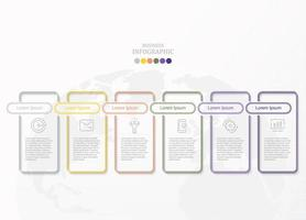 infográfico de contorno de retângulo arredondado colorido com ícones