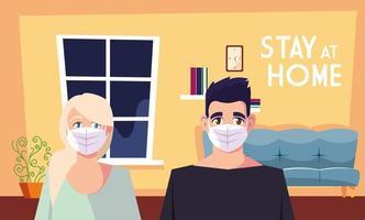 fique em casa consciência e um casal na sala de estar