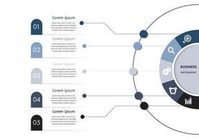 modelo de infográfico de negócios de círculo azul e branco vetor