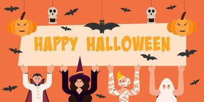 personagens do dia das bruxas segurando uma placa do feliz dia das bruxas vetor