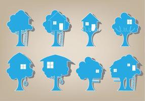 Conjunto de vetores do ícone da casa da árvore