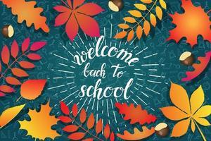 bem-vindo de volta à escola, folhas de outono e rabiscos vetor