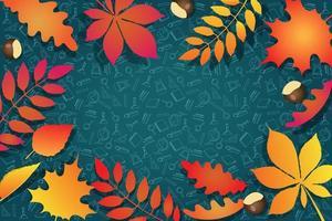 folhas de outono e rabiscos de escola desenhados à mão