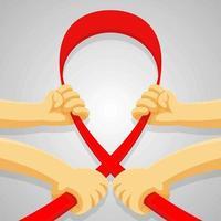 quatro mãos segurando uma fita vermelha vetor