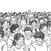 desenho à mão de uma multidão usando máscaras médicas vetor