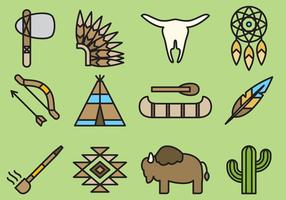 Ícones bonitos dos nativos americanos vetor