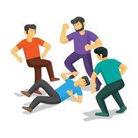 três homens lutando contra a vítima vetor