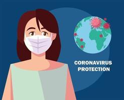 mulher com máscara cirúrgica, proteção contra coronavírus vetor