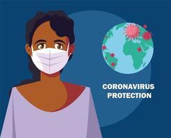 mulher usando máscara cirúrgica para proteção contra vírus vetor