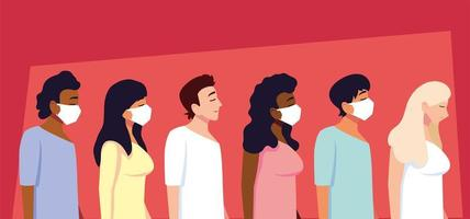 grupo de pessoas usando máscara médica
