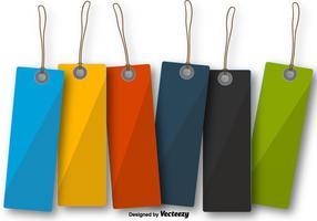 Etiquetas coloridas de etiquetas penduradas em branco vetor