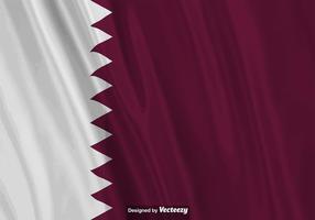 Ilustração realista do vetor da bandeira de Qatar.