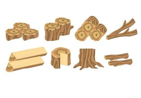 Ícones do log de madeira vetor