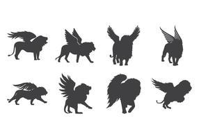 Vector Winged Lion Silhouette gratuito