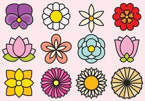 Ícones de flores bonitas vetor