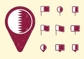 Bandeira e pinos de Qatar vetor