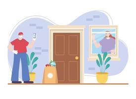 entrega porta sem contato de mantimentos por meio de aplicativo online vetor