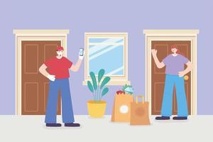 entrega de mantimentos na porta através de aplicativo online vetor
