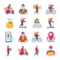 conjunto de ícones na entrega e transporte de mercadorias vetor