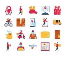 conjunto de ícones de entrega e transporte de mercadorias vetor