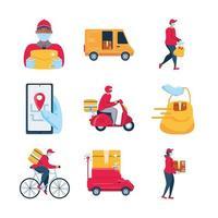 conjunto de ícones de transporte, mercadorias e entrega vetor
