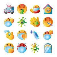 conjunto coronavírus de ícones emoji vetor
