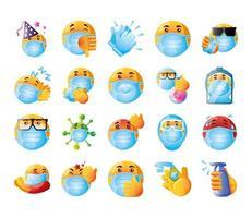 conjunto de emojis de coronavírus vetor