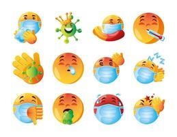 conjunto fofo de emoji de coronavírus vetor
