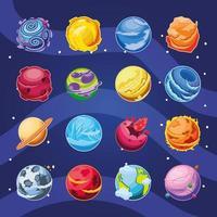 conjunto de ícones fantásticos de planetas vetor