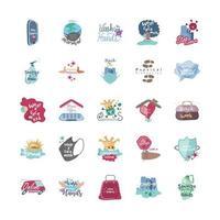 covid 19 ícones conjunto de prevenção e proteção