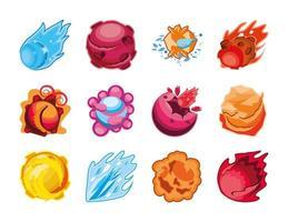 conjunto de ícones de planetas fantásticos vetor