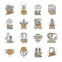 conjunto de ícones sobre cerveja artesanal vetor