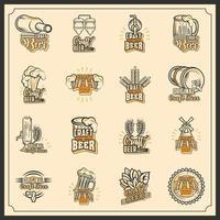 conjunto de ícones de cerveja artesanal vetor