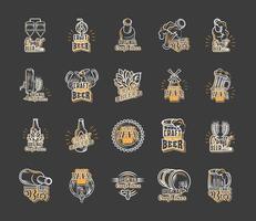 conjunto legal de ícones de cerveja artesanal vetor